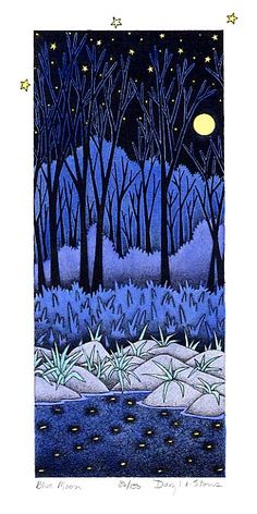 Blue Moon lithograph by Daryl V. Storrs