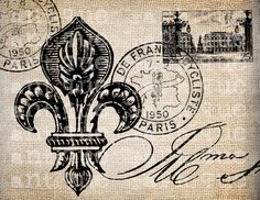 Antique Paris Postmarks Fleur de Lis Script Ornate Illustration Digital Download for Papercrafts, Transfer, Pillows, etc Burlap No 2459