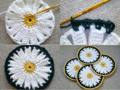 Crochet Bright Coasters in the Form of Sunny Camomiles…