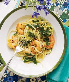 Linguine With Spicy Shrimp from realsimple.com #myplate #protein #vegetables