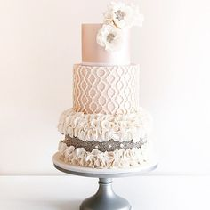 Obsessed with this luscious wedding cake by @cococakesaus! Love the texture and pattern play in romantic palette. Lovely much? Tag a friend who would fall for this design!