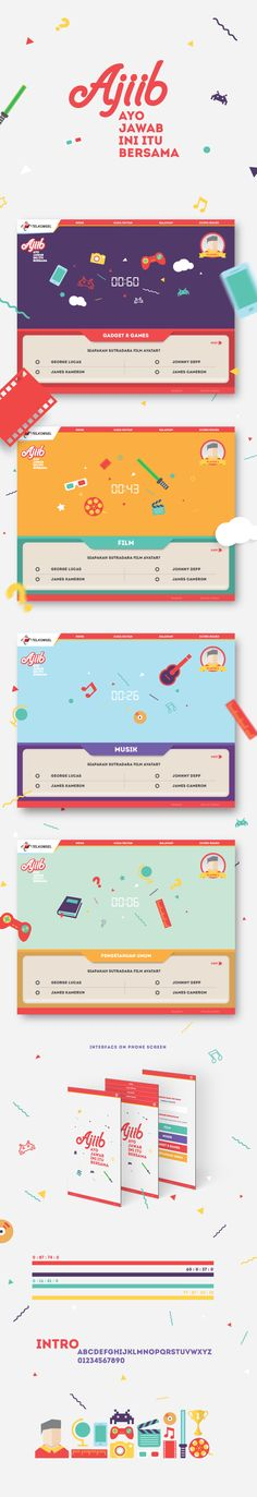 A fun design concept with good and simple communcation. AJIIB - Quiz & Games by Ivan Irwan, via Behance Web Design, Game Ui Design, Page Design, Graphic Design, Quiz Design, Website Layout, Web Layout, Layout Design, Mise En Page Web