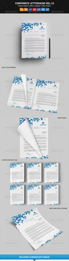 Corporate Letterhead vol.15 with MS Word DOC/DOCX  - Stationery Print Templates