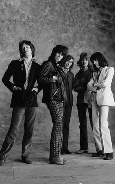 The Rolling Stones, 1971. Early '70s British Rock & Roll fashion.