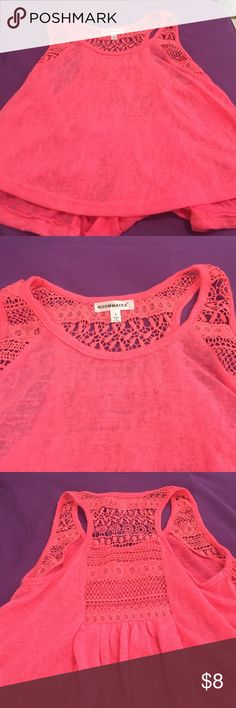 Hot pink tank crop top Hot pink tank crop top with crocheted details on back Tops Crop Tops