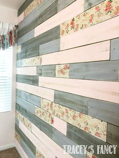A Metallic Wood Plank Wall with a Floral Twist for a Baby Girl&;s Nursery A Metallic Wood Plank Wall with a Floral Twist for a Baby Girl&;s Nursery The Country Chic Cottage &; Pink And Gray Nursery, Floral Nursery, Floral Room, Wood Plank Walls, Wood Planks, Wood Accent Walls, Planked Walls, Diy Wood Wall, Fantasy Bedroom