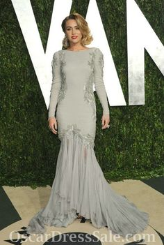 grey/ sequin long sleeve evening dress