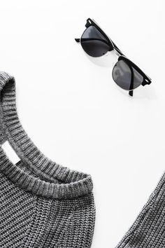 Gray Sweater and Black Framed Sunglasses Outfit · Free Stock Photo Flat Top Sunglasses, Sunglasses Women, Vintage Sunglasses, Womens Fashion Online, Latest Fashion For Women, Clothing Photography, Product Photography, Cute Glasses, Glasses Frames