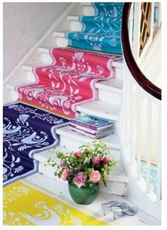 DIY: Stair Runner, simply sew rugs together