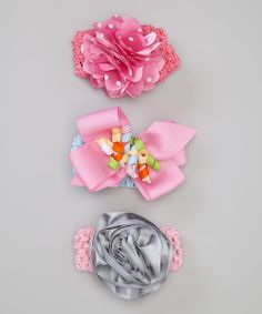 Take+a+look+at+the+Baby+Essentials+Pink+&+Gray+Rose+Headband+Set+on+#zulily+today!