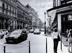 Parisian Street - ballpoint pen drawing.