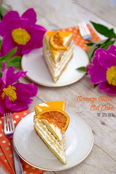 Light and fluffy layers of Orange Olive Oil Cake recipe with whipped cream frosting and a candied orange slice on top.