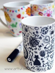 doodle decorated mugs: fun project to try with my kiddos.