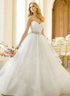 Wedding Dresses - $197.34 - A-Line/Princess Strapless Sweetheart Court Train Organza Satin Wedding Dress With Ruffle Beading (0025055889)
