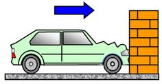 Inertia - The resistance an object has to a change in its state of motion. The car has the momentum to keep moving in a straight line even after it hits the wall.
