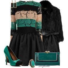 ADORE that sweater and the accessories. It looks so great with the skirt too!