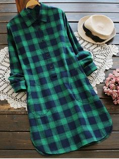 Casual Pockets Checked Shirt Dress - GREEN M Mobile