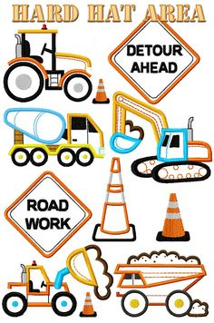 SALE!  Set of 9 Hard Hat Area Construction Trucks Machine Embroidery Applique Designs Instant Download on Etsy, $6.99