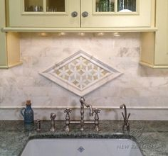 Fiona, a jewel glass water jet mosaic shown in Quartz and Amber with Cloud Nine polished pencil and chair rails, Cloud Nine bricks, and 3 waterjet Julius border shown in honed Cloud Nine and polished Paperwhite.<br /> -photo courtesy of Fancy Fixtures Kitchen Mosaic, Kitchen Backsplash, Backsplash Ideas, Tile Ideas, Shower Floor Tile, Bathroom Floor Tiles, Custom Kitchens, Home Kitchens, Low Country Homes