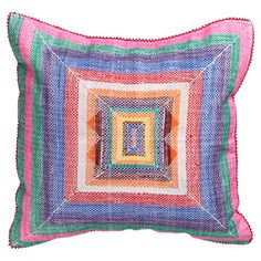 Africa!Ignite provides support to crafters in the KwaZulu Natal province. The Langazela Cushion is a part of the output of the organization's rural craft cooperatives. Each one is embroidered by hand using recycled corn bags to create a vibrant design.