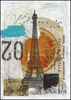 Paris - mixed media collage by Emanuel M.Ologeanu aka rcolo11 on ebay http://shop.mobileweb.ebay.com/searchresults?cmd=SREF=1=rcolo11=seller%253Arcolo11