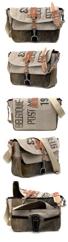 #Handmade #Messenger Recycled Leatherjacket Belgian Military Postbag #peace4youBAGS, GERMANY http://etsy.me/1r87FxL