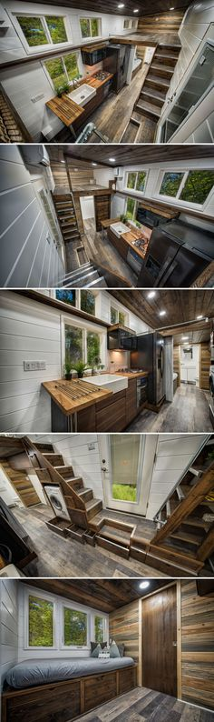 From Oregon-based Backcountry Tiny Homes is the Grizzly, a custom tiny house built for a family of five and their cats, dogs, and pet pig! The tiny home has a downstairs bedroom and two loft bedrooms. tiny homes Grizzly by Backcountry Tiny Homes Small Room Bedroom, Small Rooms, Bedroom Ideas, Trendy Bedroom, Two Bedroom Tiny House, Diy Bedroom, Tiny House Movement, Tiny House Plans, Tiny House On Wheels