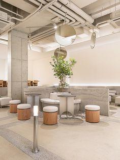 Home Interior Green Cafe Concept, Hotel Concept, Coffee Shop Design, Cafe Design, Inside Shop, Restaurants, Restaurant Interior Design, Cafe Restaurant, Commercial Interiors