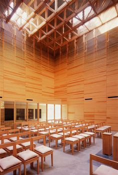 From the street or a passing train, it is hard to miss the Church Sun-pu, completed in 2008. Apart from the entrance located on a corner, the cubic chapel is clad with rough-hewn red cedar strips. The irregular surface produces an interplay of light and shadow, changing the appearance of the building at every moment and angle.