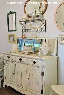 country decorating ideas, home decor, repurposing upcycling, Distressed White Dresser Town and Country Living