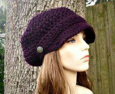 Hand Crocheted Hat Womens Hat  Crochet Newsboy