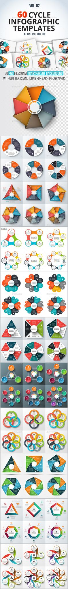 60 Cycle Infographics Templates PSD, Vector EPS, AI Illustrator