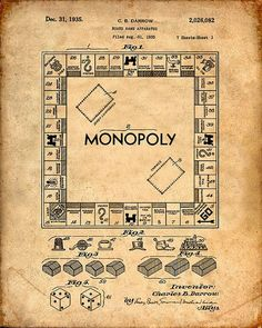 This is a print of the patent drawing for the Monopoly board game patent in 1935. The original patent has been cleaned up and enhanced to create an attractive display piece for your home or office. This is a great way to put your interests and hobbies on display. Wonderful gift idea as well. The image is printed on professional, acid free, archival matte fine art paper giving the image rich and vibrant colors. Prints are packaged in acid-free, moisture resistant sleeves, and shipped in…