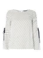 Womens White Spotted Ruched Cold Shoulder Top- White