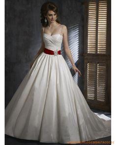 Elegante liebliche Brautkleider für Prinzessin aus Taft schönes Korsett mit rotem Gürtel Geraffter Rock mit Schleppe
