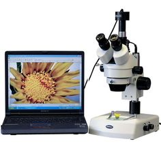 AmScope 3.5x-90x Stereo Zoom Microscope with Dual Halogen Lights and 8MP Camera