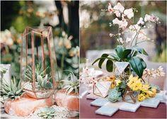 Terrarium geometric wedding centerpieces