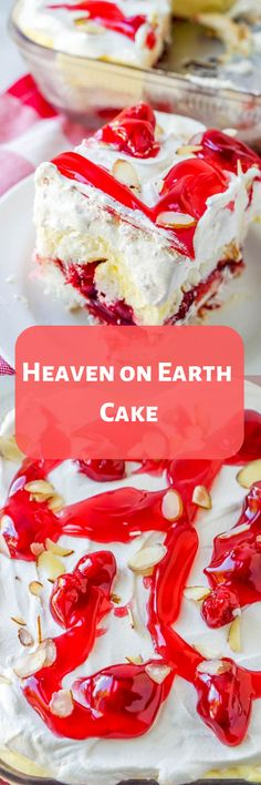 You can use a store-bought angel food cake so you don't have to bake anything! Earth Cake, Heaven On Earth, Icebox Desserts, Just Desserts, Cake Mix Recipes, No Bake Pies, Yummy Snacks, Delicious Desserts, Summer Treats