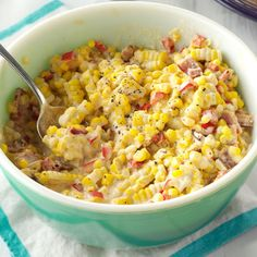 Eddie's Favorite Fiesta Corn Recipe- Recipes When sweet corn is available, I love making this splurge of a side dish. Frozen corn works, but taste as you go and add sugar if needed. Fiesta Corn Recipe, Corn Recipes, Side Dish Recipes, Mexican Food Recipes, Ethnic Recipes, Drink Recipes, Recipies, Healthy Side Dishes, Veggie Dishes