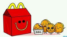 Mc Donald& s nuggets - Mc Donald& s nuggets - ? Cute Food Drawings, Cute Animal Drawings Kawaii, Art Drawings For Kids, Disney Drawings, Cartoon Drawings, Cool Drawings, Chibi Kawaii, Kawaii Doodles, Cute Doodles