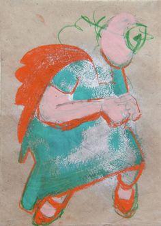 Chara Art Prints, Joyous, Mixed Media, Painting, Giclee Art Print, Art, Girl Dancing, Color, Colours
