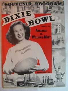 1948 NCAA FOOTBALL PROGRAM DIXIE BOWL ARKANSAS VS WILLIAM AND MARY (09/15/2011)