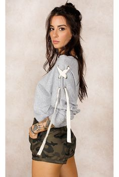 Cropped Kylie w/ Ilhós Cinza Fashion Closet - fashioncloset