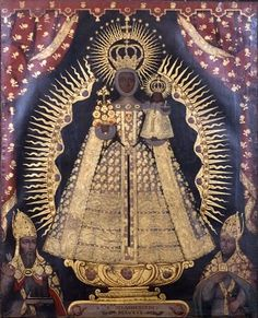 A painting of Our Lady of Mercy in the cathedral of Cusco, Peru. Pintura Colonial, Colonial Art, Spanish Colonial, Divine Mother, Mother Mary, Religious Icons, Religious Art, Statues, Black Jesus
