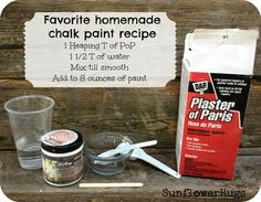 1 Heaping tablespoon of plaster of paris 1.5 tablespoons of water Mix in a bowl with a popsicle stick to a sour cream consistency 1 cup/8 ounces of paint- then pour paris mix directly into into the sample pot of paint, shake, paint!