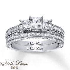 Neil Lane Bridal Set 1 3 4 Ct Tw Diamonds 14K White Gold Engagement