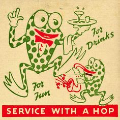 Green Frog Lounge :: detail of a vintage match pack from El Paso, TX