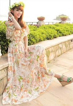 off shoulder chiffon printed dress
