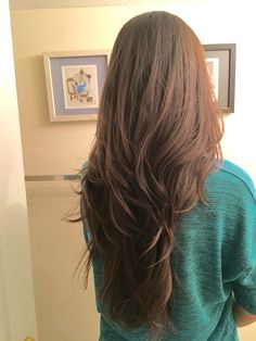 V shape and layers long hair