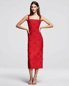 #Valentino Daisy-Embellished Sleeveless Midi Dress, Red